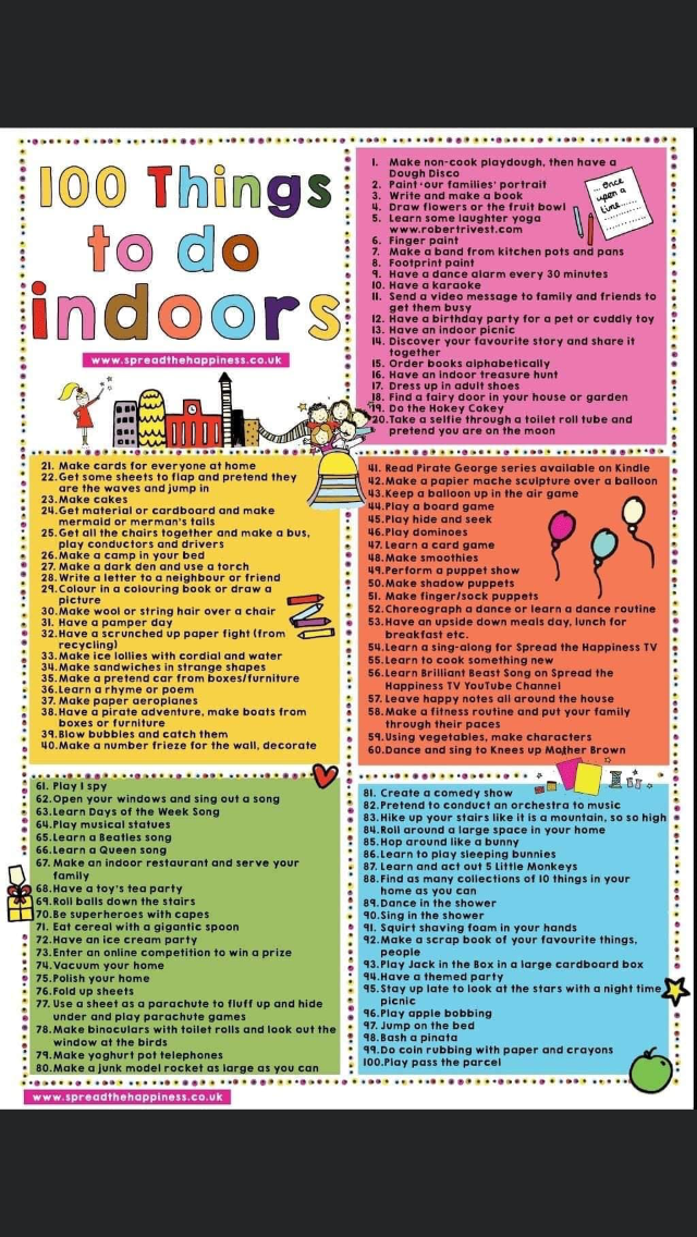 Indoor activity ideas