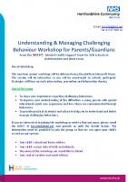 Challenging behaviour parent workshop poster updated